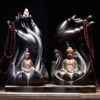 Buddha Hand Guanyin Backflow Incense Burner + 20Pcs Incense Cones Ceramic Holder Censer Smoke Home Decor Dropshipping
