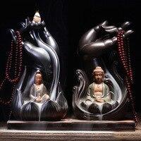 Buddha Hand Guanyin Backflow Incense Burner + 20Pcs Incense Cones Ceramic Holder Censer Smoke Home Decor Dropshipping