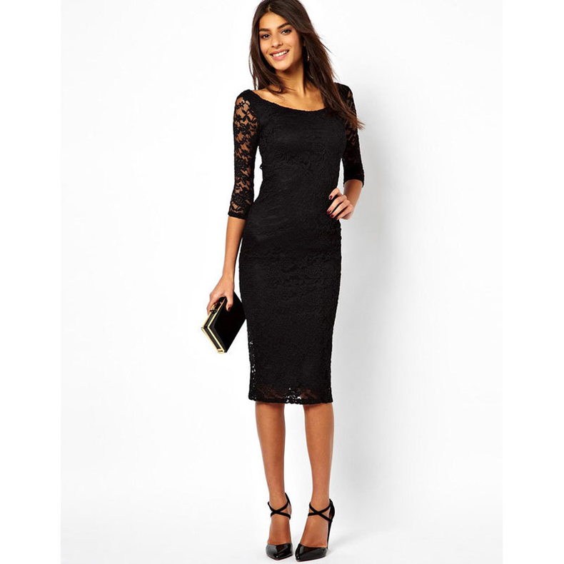 Elegant Lace Dress Spring Women Black Hollow Seven Sleeves O-Neck Slim Vetement Femme Purple Tight Wrap Desses Fashion Elbise