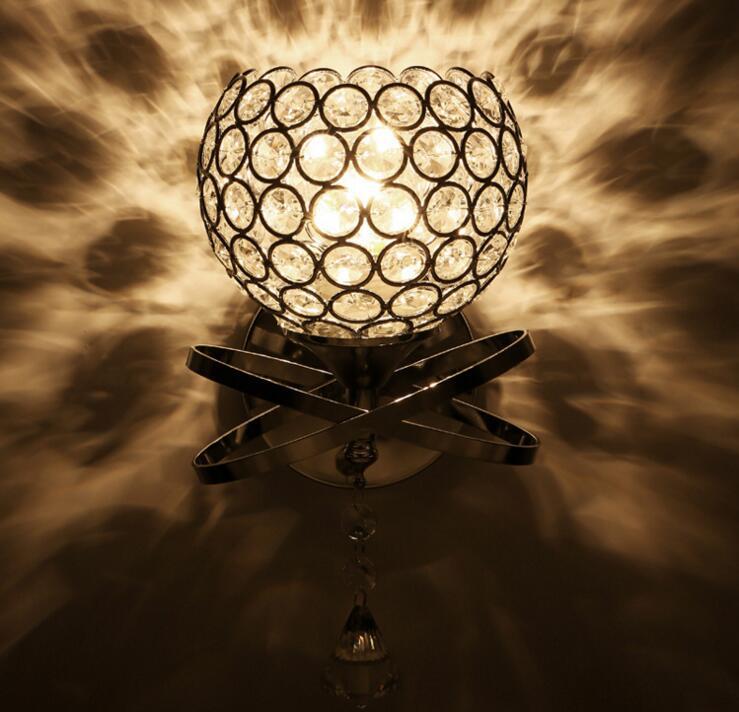 8ks / lot E27 BASE Schodiště Crystal No Bulb Nástěnné lampy Hliníkové Světlo Stříbrné / Zlaté Schody Led Escalier Lamp Pro Dekor Ložnice