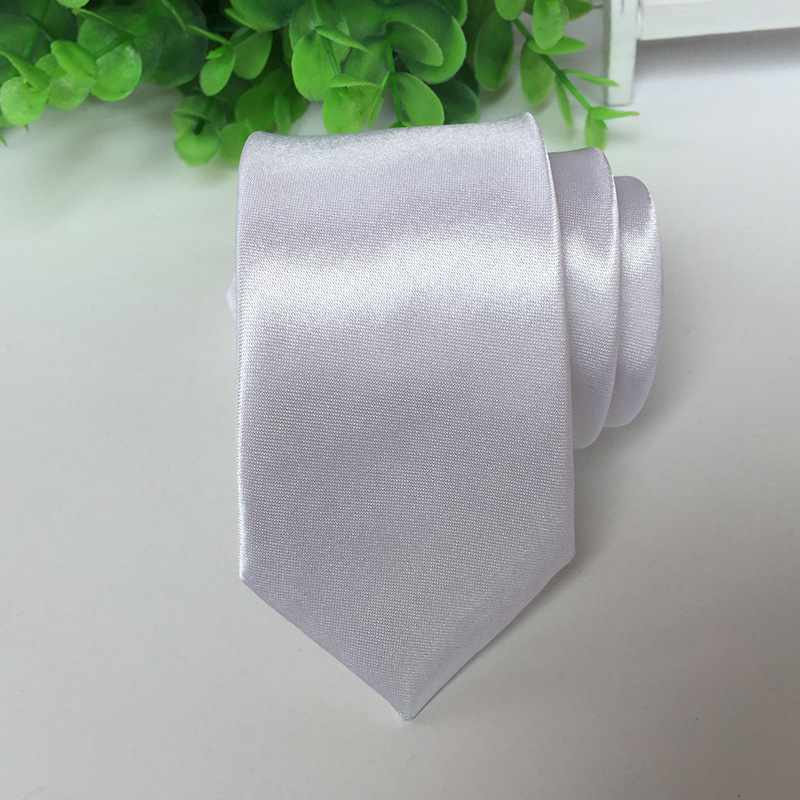 Ties Solid White  Stage Performance Bright Version 5cm Narrow Tie
