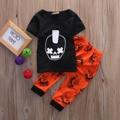 2 unids bebé Niño Niños Niños Bebés Trajes de Manga Corta Cráneo Camiseta de La Impresión Tops + Rojo Largo Pantalones Ropa Fijada 0-3Y