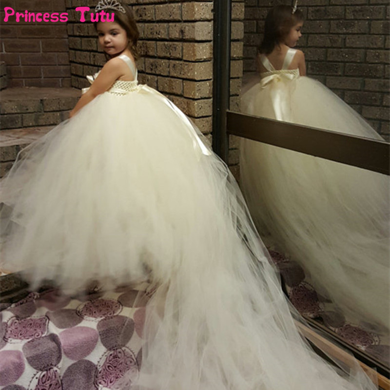 White, Ivory Flower Girl Dresses Long Train Tail Princess Tutu Dress Kids Party Wedding Dresses For Children Ball Gown Vestidos 2017 mint high low flower girl dress for wedding with long train crystals ball gown kids 1st birthday party outfits baby dresses