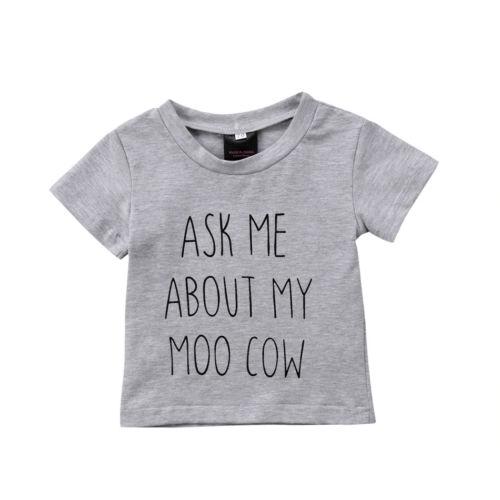 Cute Newborn Kids Baby Boys Girls Animal Cow Cotton Top T-shirt Clothes Summer Short Sleeve Pullover Tops