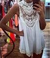 Sleeveless Lace Flower Mini Dress Sexy Hollow Out Short Dress Women Beach Evening Party Vest Shift Chiffon Dress White