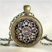Tibetan Buddhist mandala necklace, Sacred geometry Jewelry , Spiritual gift, men necklace, black men's mandala pendant HZ1