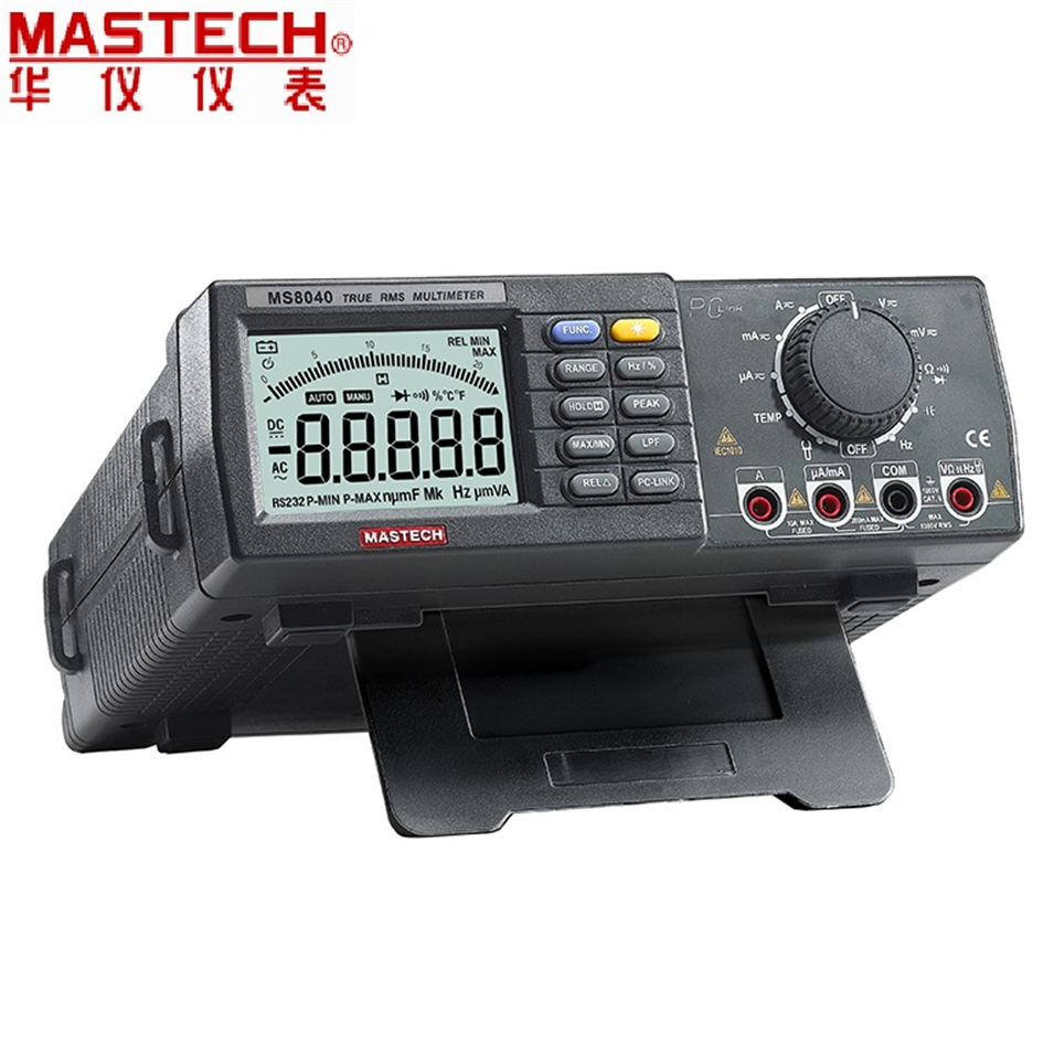 22000 Counts AC DC Voltage Current Auto range Bench multimeter True RMS Low-pass filtering With RS-232 Interface MASTECH MS8040 цена