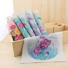 2015 zakka mão tingido 6 assorted cotton linen impresso quilt tecido para diy costura patchwork home textile decor 19×20 cm flores