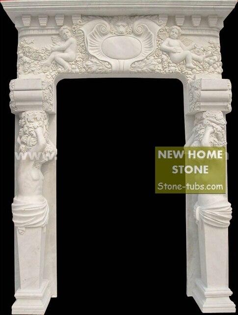 Marble Door Frame Design White Marble Hand Carved Stone Door with Women Figure sculptures u0026 little & Marble Door Frame Design White Marble Hand Carved Stone Door with ...