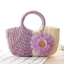 2019 Fashion Small Summer Bag Women Woven Straw Handbags With Flowers Bolsas Feminina Handmade Colorful Female Beach Bag Zipper