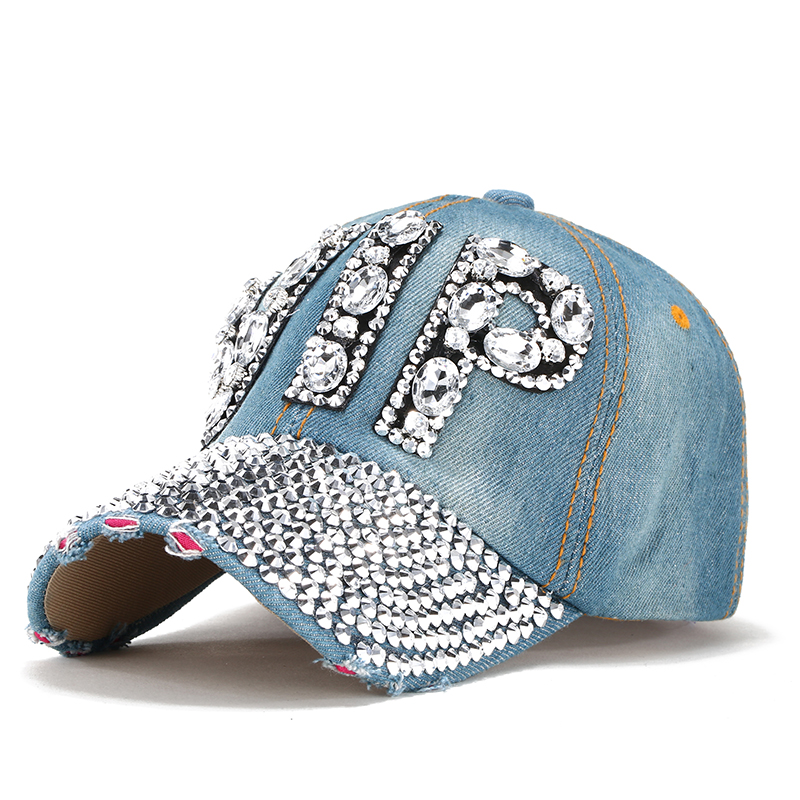 ee767def99a 2017 Hat Rhinestone Print Denim hat Rivet Sun-Shading VIP Baseball Summer  Women. winter hat