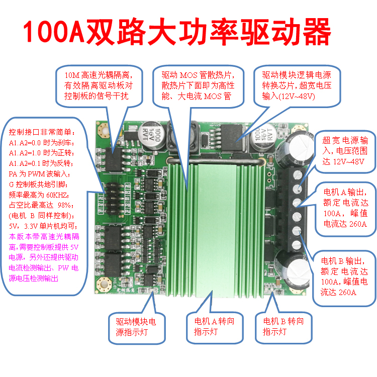 Motor Drive Module DC Motor Driver 100A Dual Super High Power H Bridge Optocoupler Isolation цена
