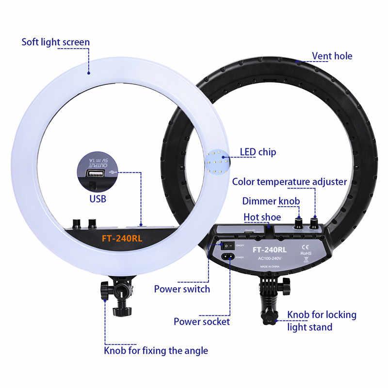 Fosoto FT-240RL 14 дюймов фотографическое Освещение 3200-5600K кольцевая лампа камера фотостудия телефон led кольцо легкий штатив подставка пульт дистанционного управления
