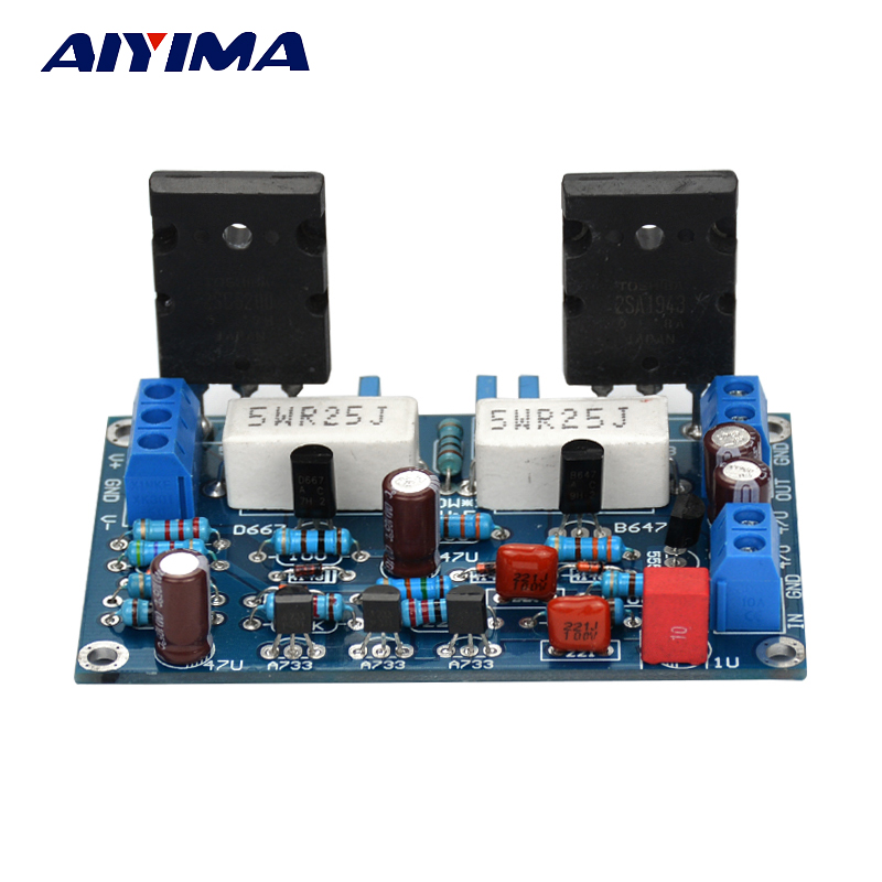 Aiyima 100W 2SC5200+2SA1943 Audio Amplifier Board HIFI Mono Channel Amplifier Dual DC35V Speaker Home Theater DIY 2sa1943 2sc5200