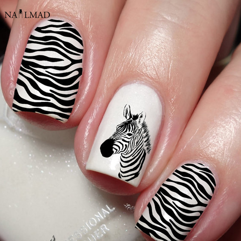 1 Sheet Zebra Nail Sticker Leopard Art Water Decals Decorations Stickers Animal Pattern In From Beauty Health On