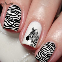 1 lembar Zebra Nail Sticker Leopard Nail Art Decals Air Nail Dekorasi Nail Art Stiker Hewan Pola(China)
