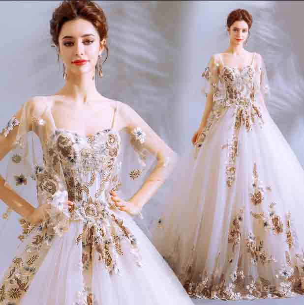 Handmade Heavy Wedding White Luxury Prom Party Dress Custom Ball Gown Formal Dress Red Carpet Gift