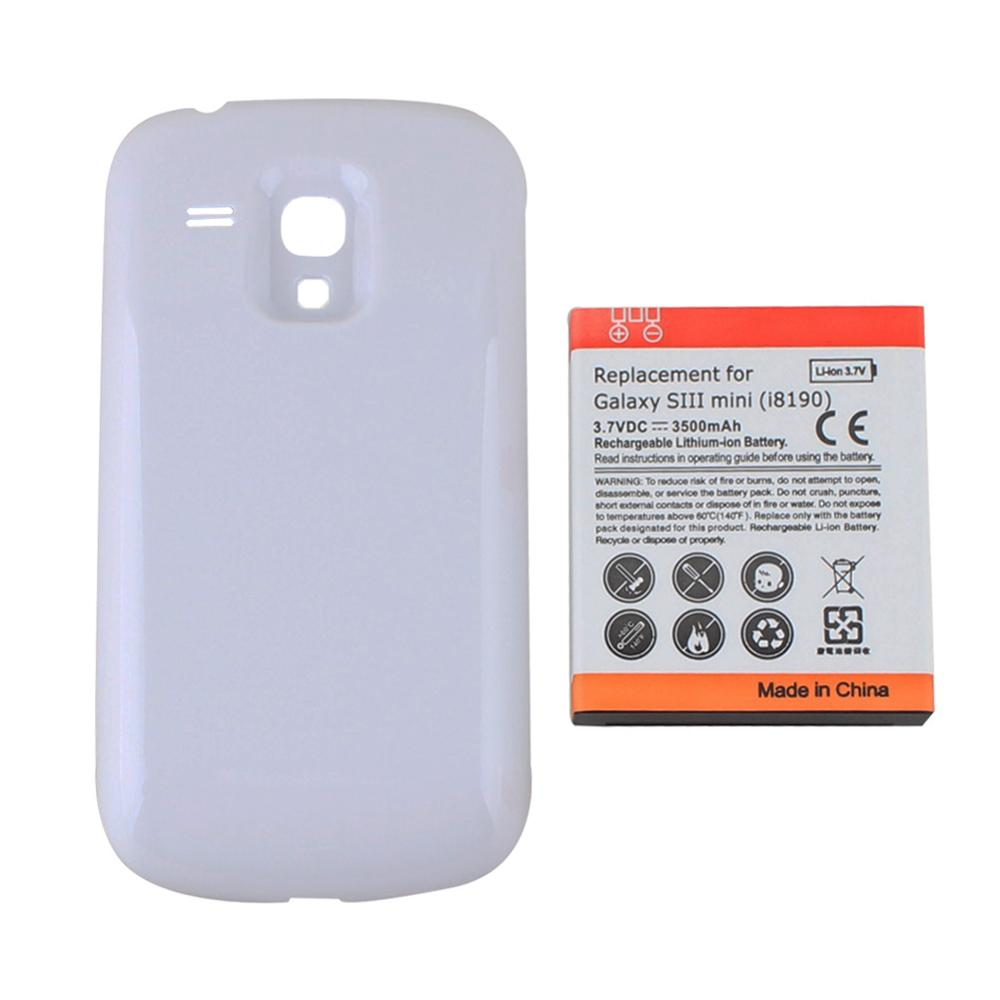 High Quality Replacement 3500mAh Mobile phone <font><b>Battery</b></font> For Samsung Galaxy S3 SIII Mini <font><b>i8190</b></font> Phone <font><b>Battery</b></font> with White <font><b>Back</b></font> Cover image