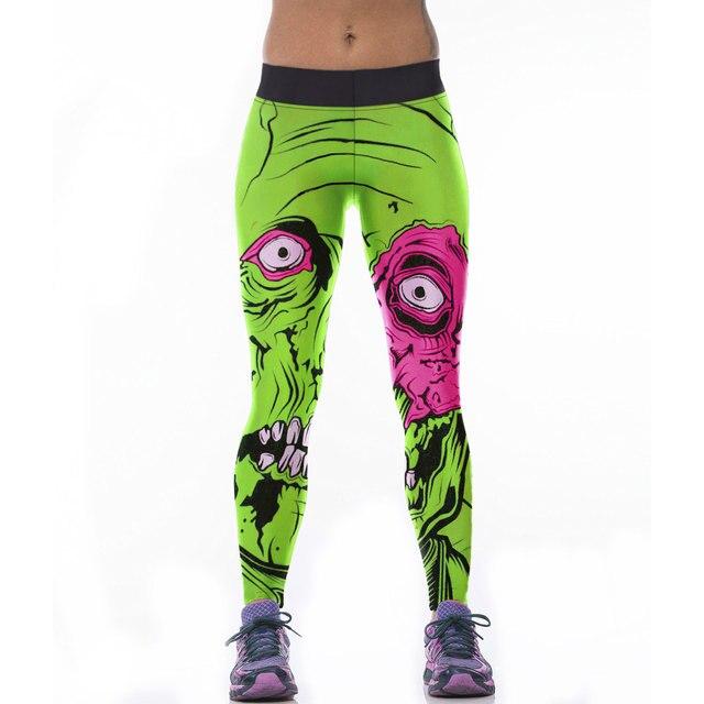 cbf2f54fe78 Fitness leggins para mujer 3D pelo verde monstruo impreso Leggings mujeres  elástico entrenamiento Pantalones Slim Jeggings