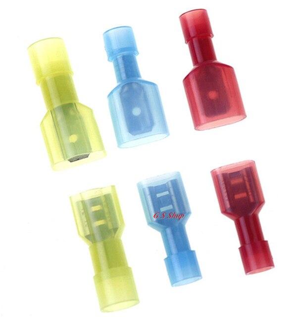 100 قطع 50 مجموعة شفافة الأحمر الأصفر الأزرق بالكامل معزول المجرف الكهربائية تجعيد موصلات-مختلطة الذكور و الإناث