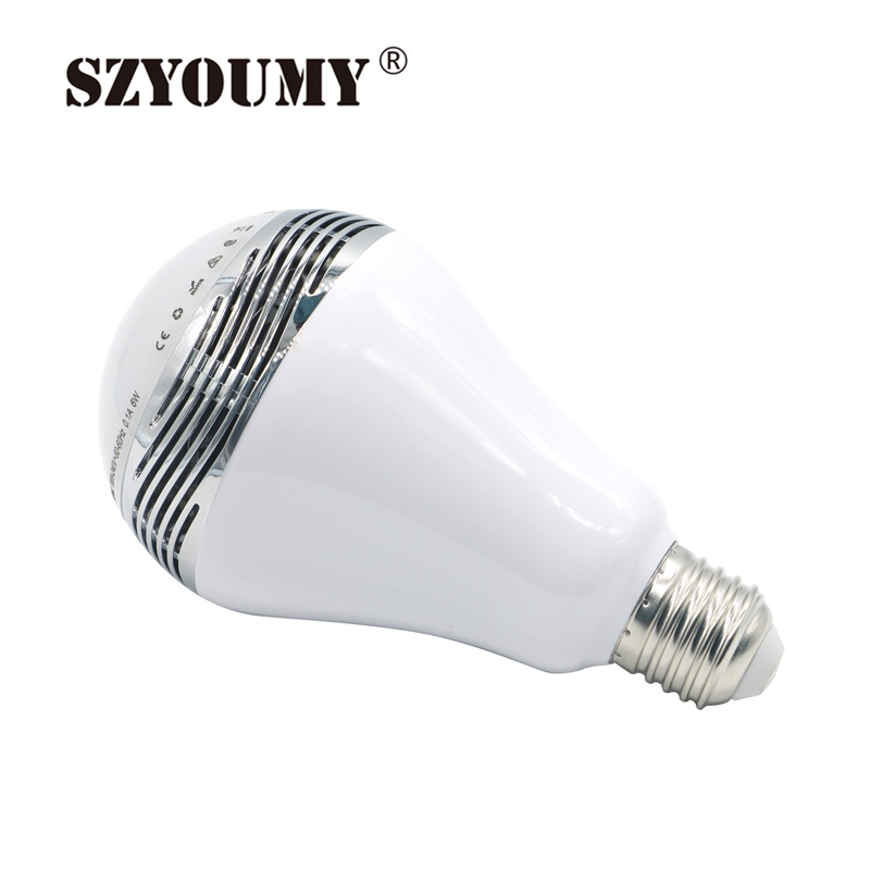SZYOUMY Smart Bulb Bluetooth Speaker Bulb E27 LED RGB Light Wireless Music Bulb Lamp Color Changing via WiFi App Control new dc5v wifi ibox2 mi light wireless controller compatible with ios andriod system wireless app control for cw ww rgb bulb