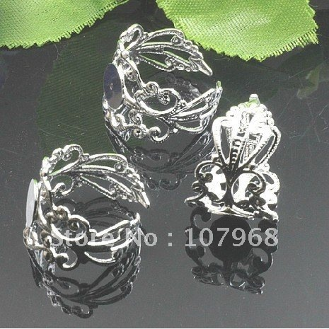 """Wholesale&Free Shipping: Silver Copper Finger Ring Base,8mm Round Crown Ring Blanks,Finger Ring Set """"200pcs/lot"""""""