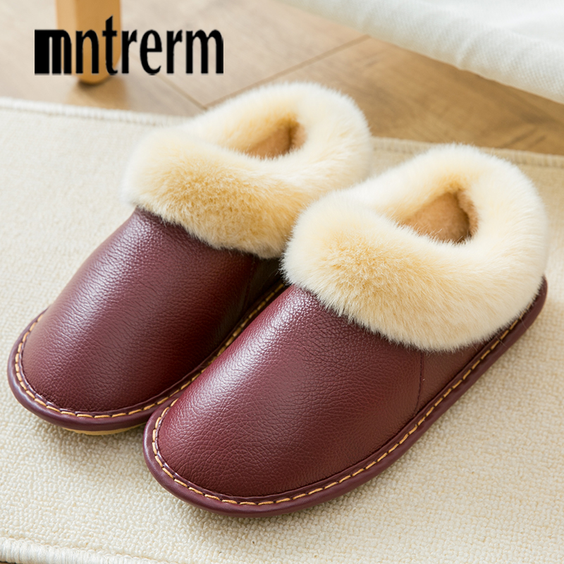 Mntrerm 2018 Winter Plush Warm Home Leather Slippers Non-Slip Thick Warm House Shoes Cotton Men Slippers Plus Size Indoor Shoes