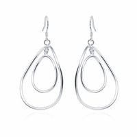 HERMOSA Jewelry Stamp 925 Sterling Silver Simple Two circle Gift Wholesale Women solid Earring EH000057
