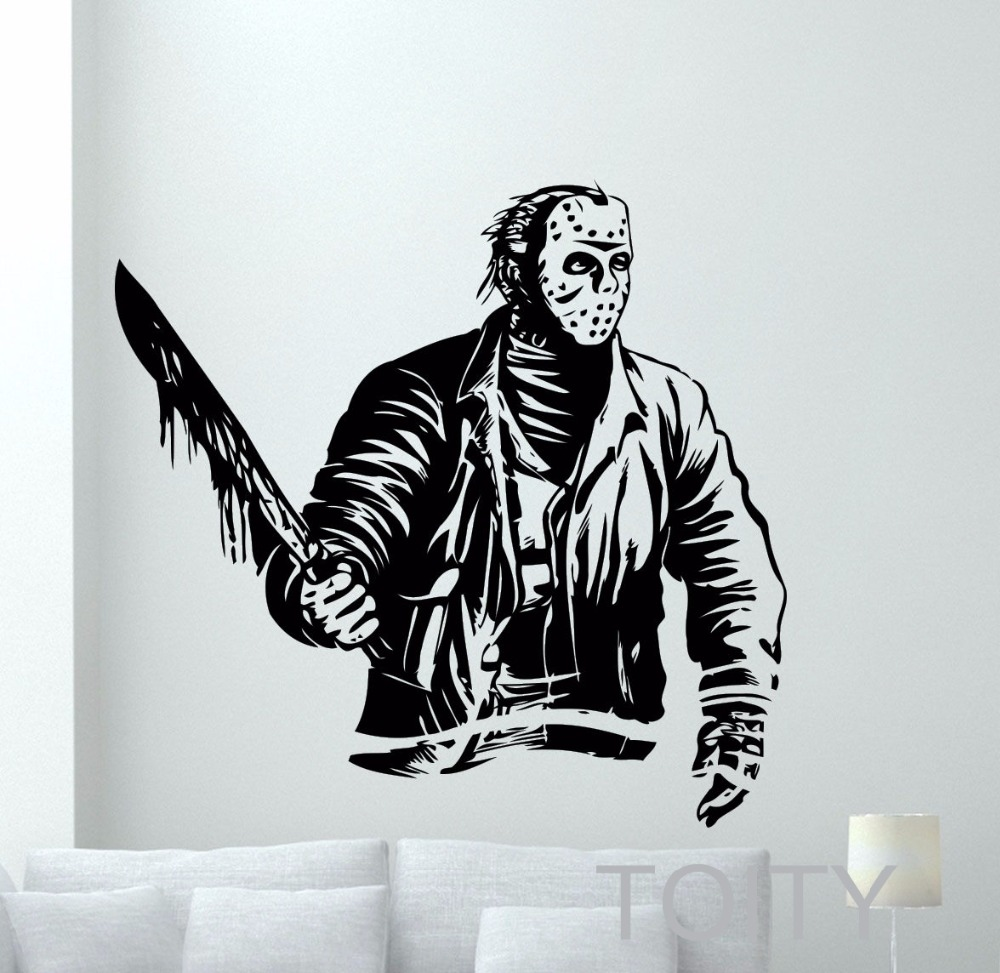 Horror Woonkamer Us 12 74 25 Off Jason Voorhees Muurtattoo Retro Horror Films Vinyl Sticker Dorm Interieur Woonkamer Art Decor Verwijderbare Mural In Jason Voorhees