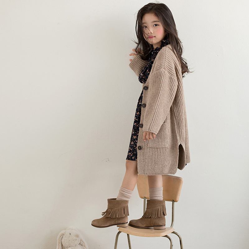 children clothing girls age 11 12 years long knitting baby girls coat autumn outerwear winter knitted teenage girls jackets 2017