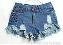 Женские джинсовые шорты с заклепками рваные ультракороткие нестандартные