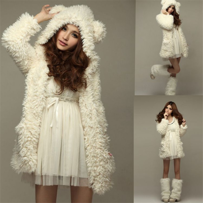 New Autumn Winter Warm Women Hoodie Coat Jacket Teddy Bear Rabbit Ears Thick Soft Fleece ...
