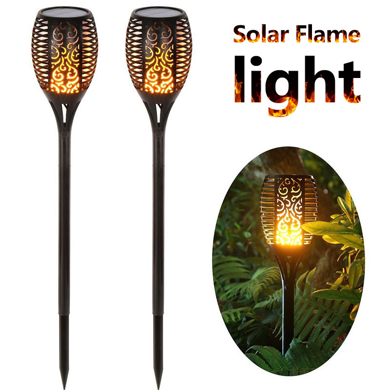 Solaire Jardin Extérieure Imperméable À L'eau Solaire Lampe Torche Solaire LED Flamme Lumière Extérieure Paysage Décoratif Chemin Éclairage