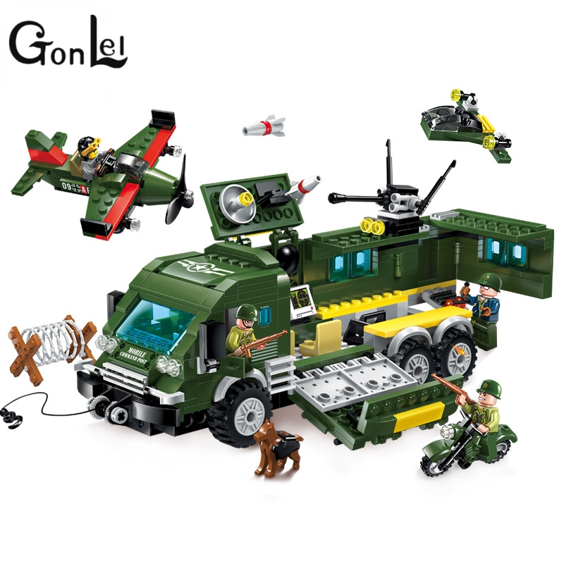 GonLeI Enlighten 446PCS Building blocks Military Series Fighter Attacke Armored Car Compatible With Lepin Kids Toys Gifts enlighten building blocks navy frigate ship assembling building blocks military series blocks girls