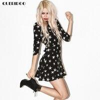 Queridoo Boho Star Print Dress Half Shoulder Backless Summer Women Mini Dresses O Neck Party High