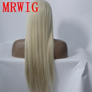Image 4 - MRWIG long straight26in #613 middle part synthetic heat resistant fiber transparent lace synthetic fiber front lace wig