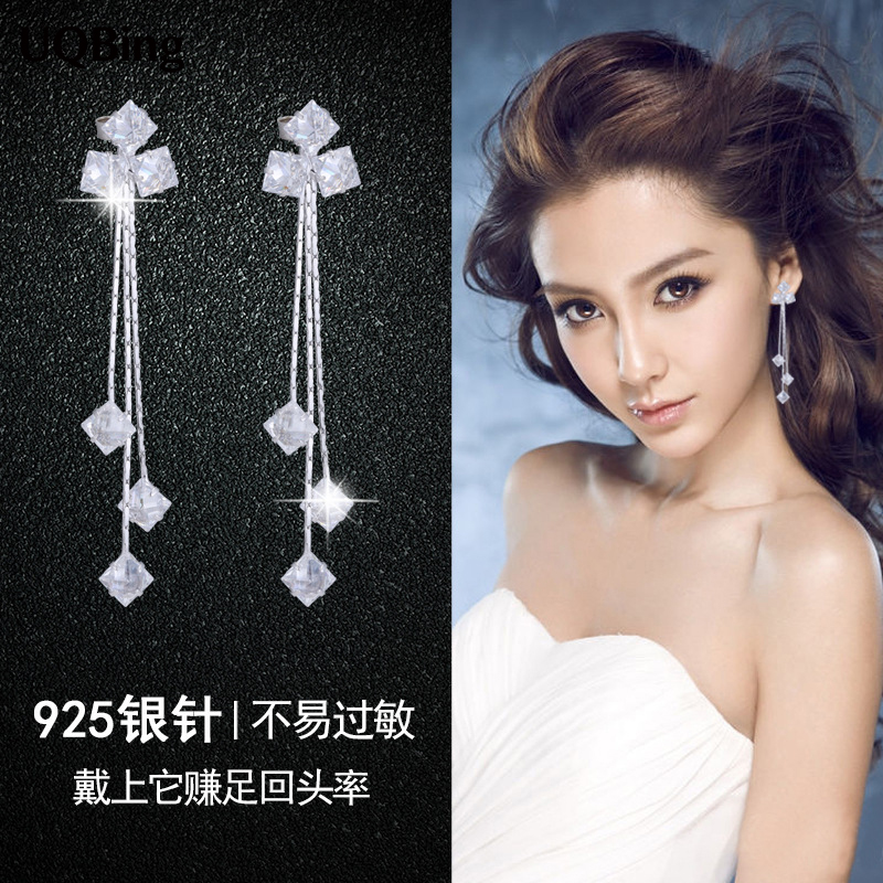 Wholesale Silver Earrings Temperament 925 Sterling Silver Rhinestone Stud Earrings For Women Good Jewelry Brincos pair of graceful rhinestone triangle earrings jewelry for women