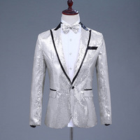 Singer Club Shiny Sequins Blazer Suit Men's Hip Hop Costume One Button Jacket Glitter Coat With Bow Tie For Men Gold Sliver