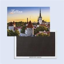 Tallinn scenery, Estonia tourist souvenirs, Gifts for friends, Magnetic refrigerator magnet, Rectangle 78*54mm terhi pääskylä malmström minu tallinn kalevitüdruku kroonika