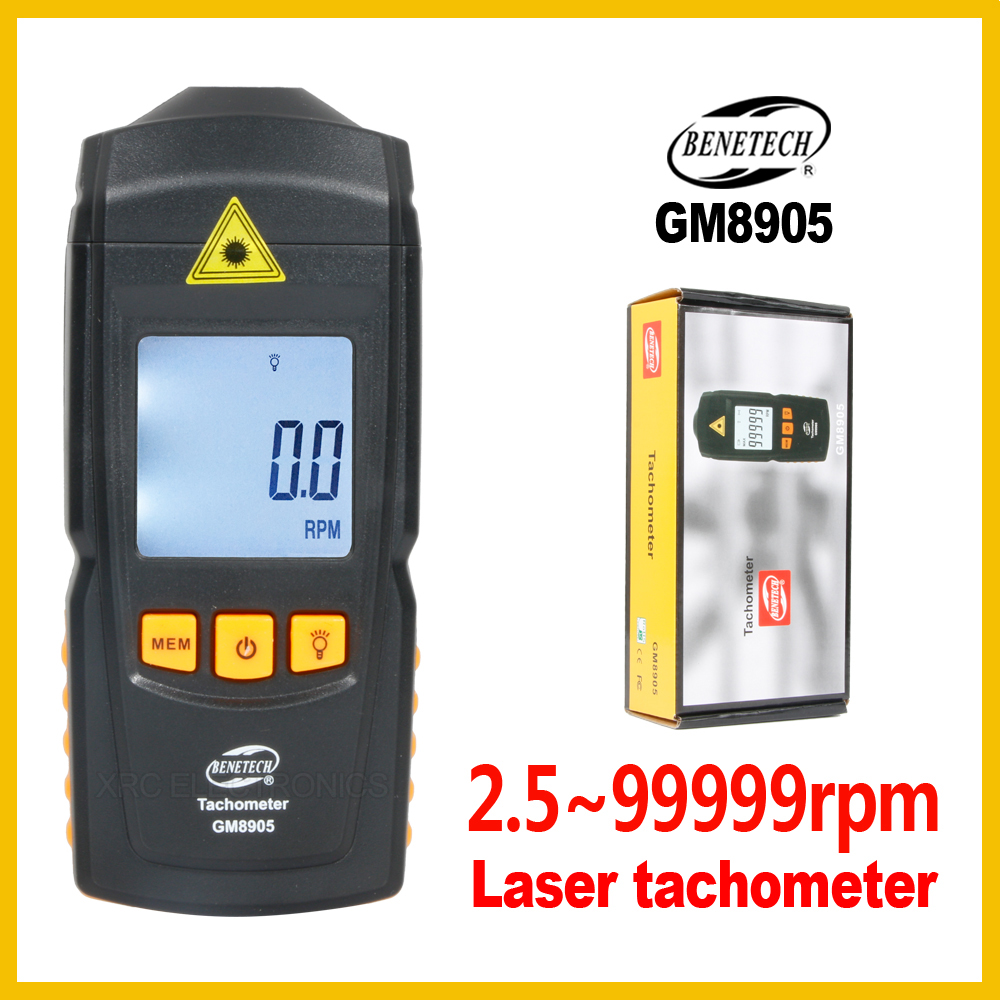 Digital Laser Photo Tachometer Non Contact LCD Tach RPM Meter Rotate Speed Detector Wide Measuring GM8905-BENETECH