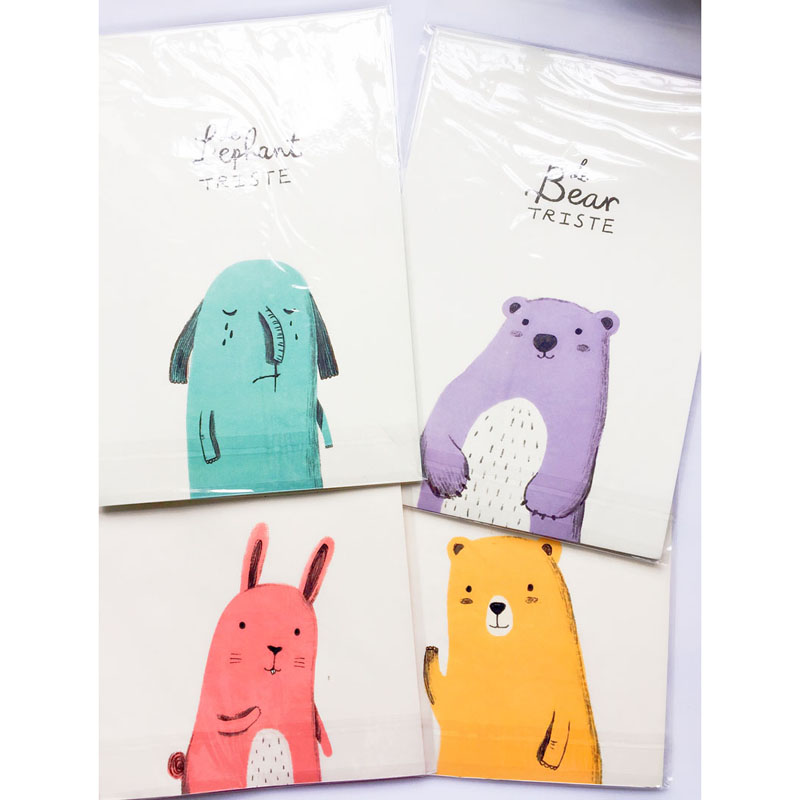 1 Set 6 Paper 3 Envelope Cute Kawaii Bear Rabbit Elephant Paper Letter Stationery Set Writing Greeting Birthday Message