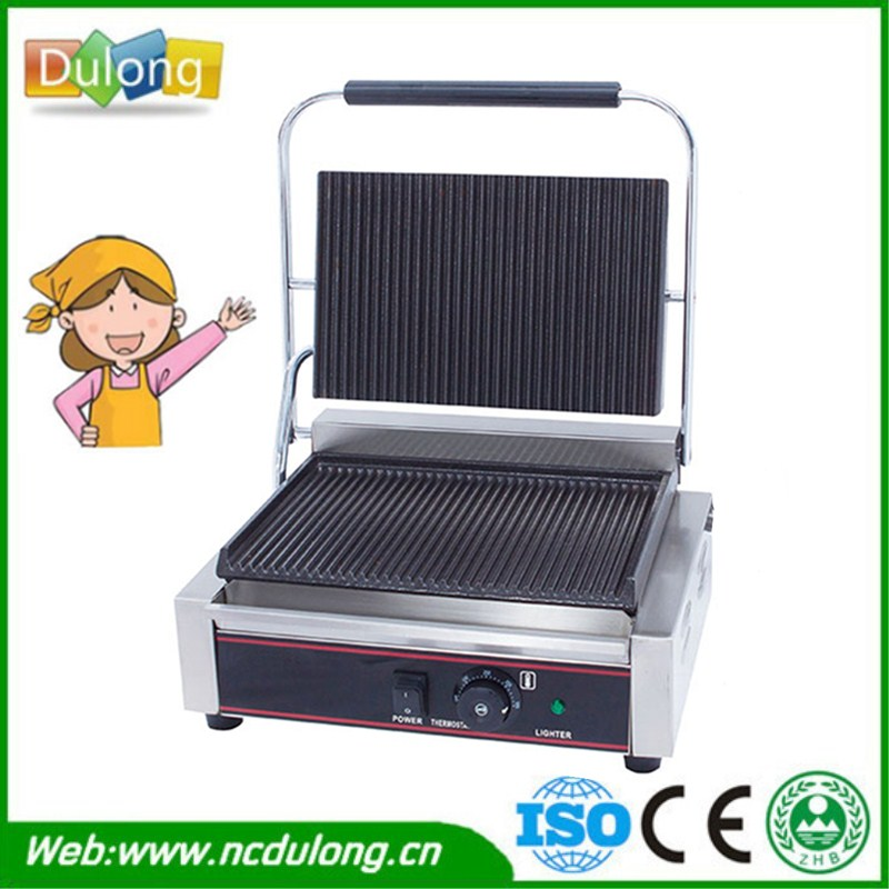 New Commercial Heavy Duty Non-stick 220v Flat Iron Plates Panini Sandwich Contact Grill Griddle Toaster Machine commercial heavy duty non stick 220v electric ribbed