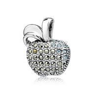 Free Shipping GND0788 Genuine 925 Sterling Silver Crystal Apple Pendant Tai Silver Necklace Pendant New S925