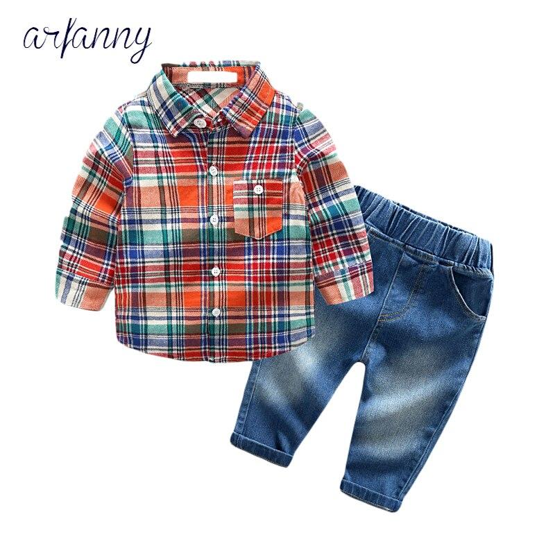 Bébé garçons costumes vêtements automne mode infantile vêtements style décontracté bébé costume latticeTie chemise + Cowboy pantalon ensemble néonatal