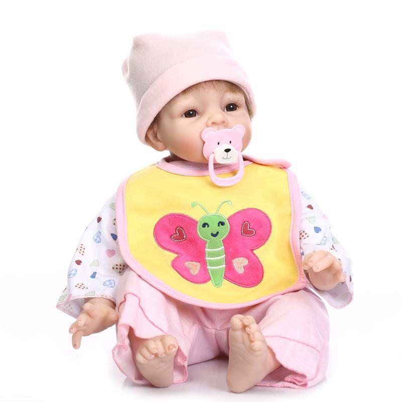 Adorable 55cm Baby Girl Silicone Reborn Baby Dolls Bonecas Bebe Reborn Vinyl Reborn Baby Dolls Lifelike Silicone Sleeping Doll недорого