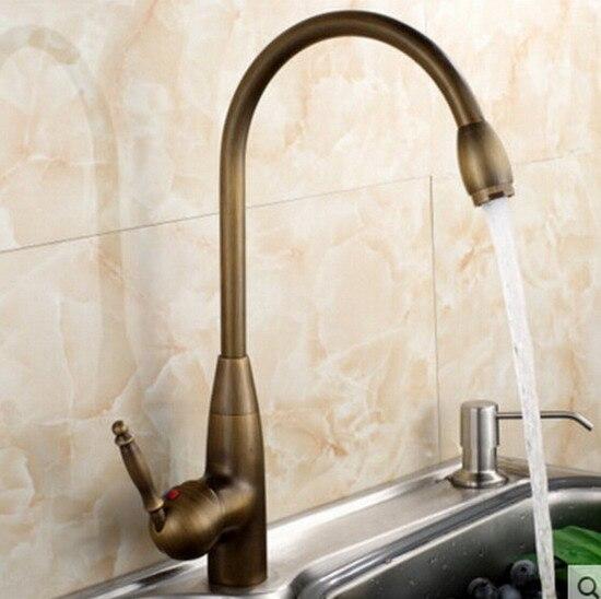 Retro Vintage Antique Brass Único Punho Um Buraco Do Banheiro Cozinha Bacia Sink Faucet Tap Mixer Bica Giratória Deck Montado msf073