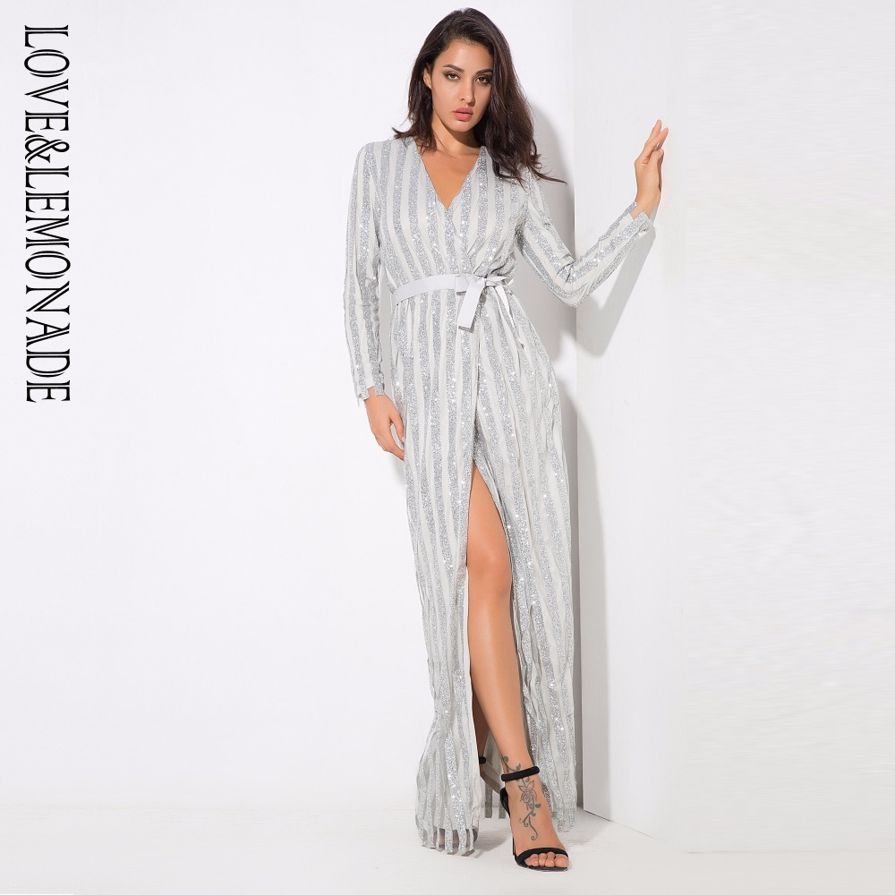 Love Lemonade Silver Stripes Cross V Collar Body Long Dresses LM0268