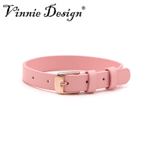 Image 2 - Vinnie Design Jewelry Genuine Leather Wrap Bracelets with Rose Gold Buckle for Keeper Slide Charms Multicolor 10pcs/lot