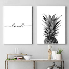 Nordic Poster Black And White Fruit Pineapple Picture Canvas Prints Lover Quote Painting Wall Art For Living Room Home Decor(China)