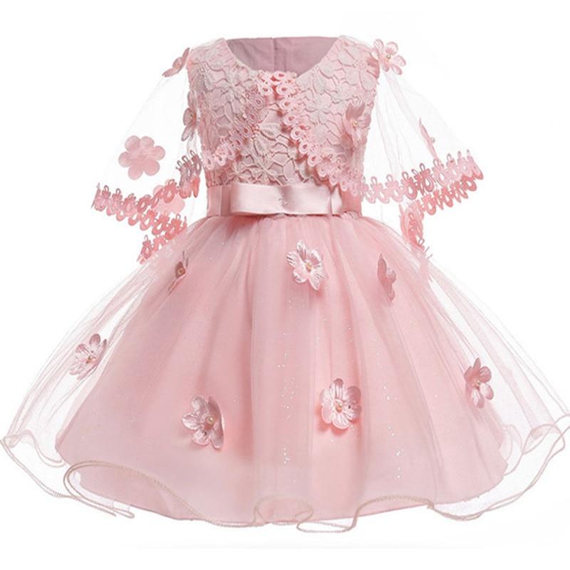 Baby Girl Vintage Pink Flower Infant Dresses Princess Baby